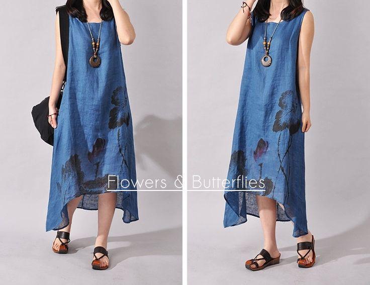 WORLDWIDE FREE SHIPPING Women Linen Dress 4 Colors 4 Sizes Plus Size Summer dress natural dress boho dress woman dress Lagenlook by FlowersButterflies15 on Etsy