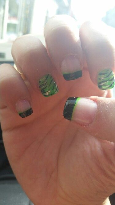 Neon green zebra print nail design with French style tips ♡♡♡ it