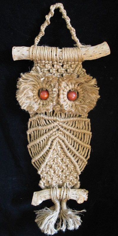 Vintage hand made mid century hanging macrame owl on cactus wood.
