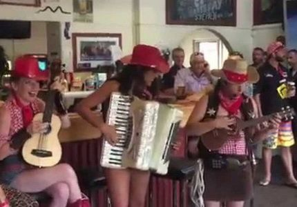 Our Cowgirls are a hoe-down of fun for all demographic. Playin a hoot of tunes from the wild west and yeeha toe tappin repertoire. A promise to have you up and dancin.