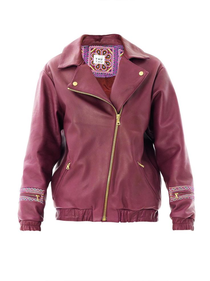 $360, Purple Leather Jacket: THU THU Airside Leather Bomber Jacket. Sold by MATCHESFASHION.COM. Click for more info: http://lookastic.com/women/shop_items/113296/redirect