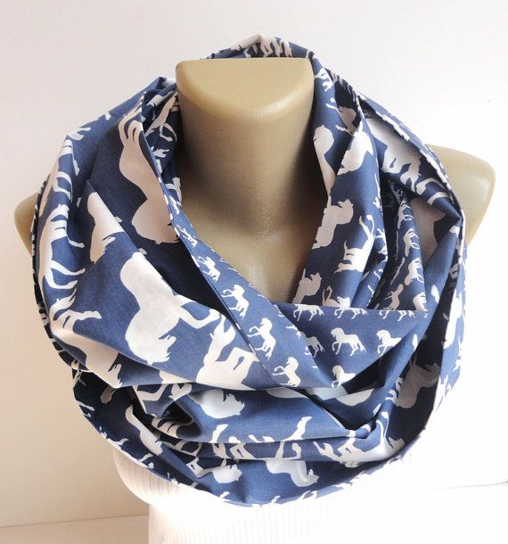 white horse scarf women scarf infinity scarf fashion scarves cotton scarf blue and white scarve scarf on Etsy, $19.90
