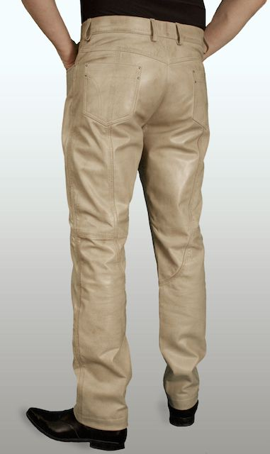 Mens Beige Luxury Soft Leather Trousers Jeans