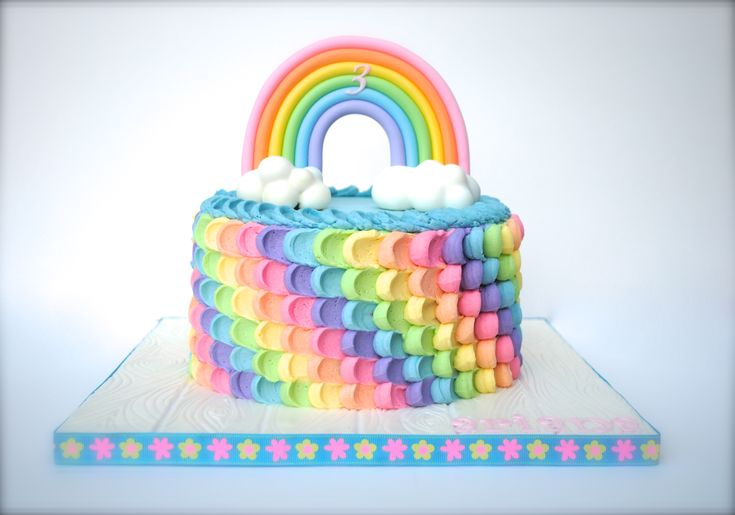 Rainbow Birthday Cake - Buttercream Petal Cake in rainbow colors. Rainbow and clouds are gumpaste. TFL!