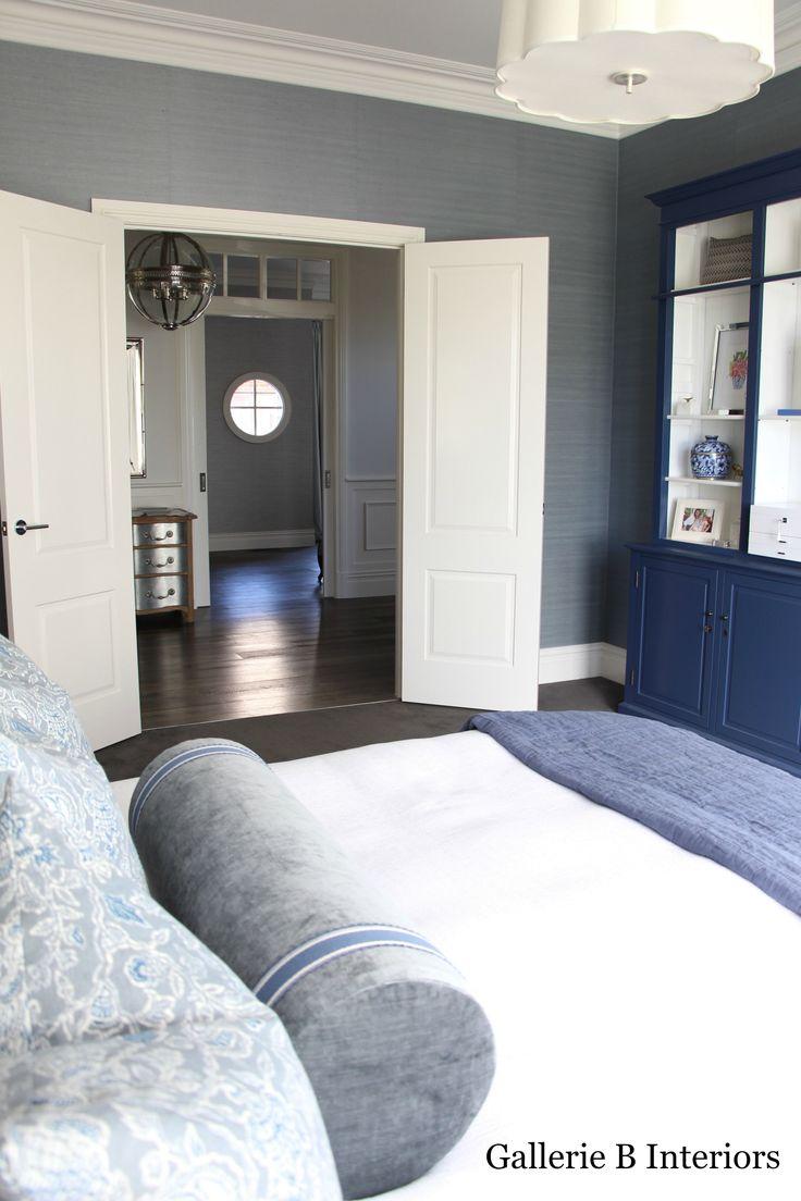 Gallerie B Interiors Master Bedroom Blue Grasscloth