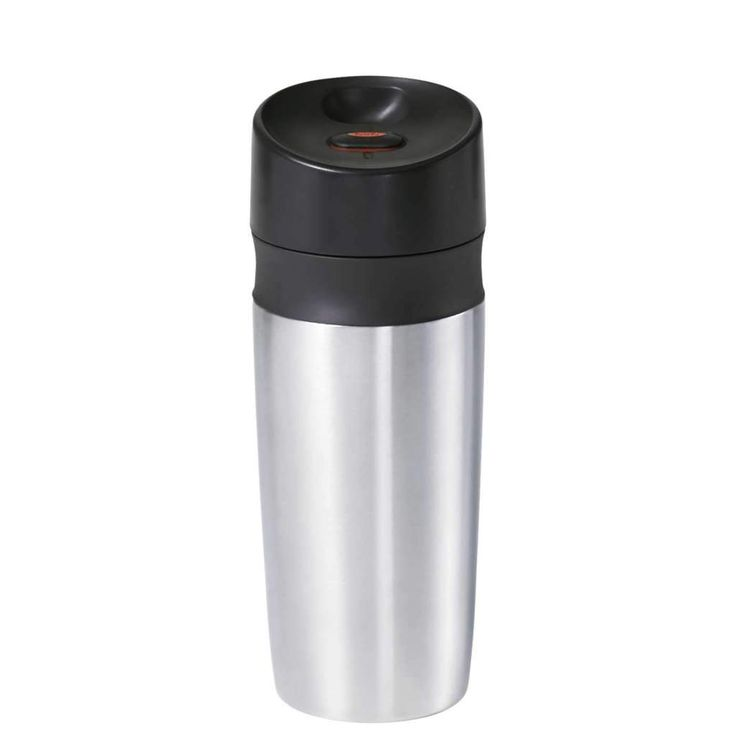 Seal and open the Travel Mug with a one-handed click, so you can keep your other hand on the steering wheel. Three silicone seals ensure a spill-free commute. Stainless steel double-walled vacuum insulation keeps your beverage hot or cold for hours. Available in a full range of sizes.