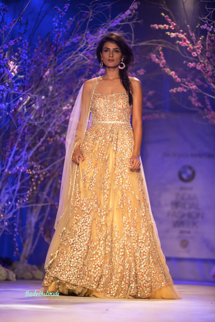 Pale yellow anarkali with floral embroidery by Jyotsna Tiwari