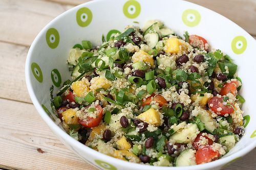 Sprouted Quinoa Salad with Mango, Black Beans and Avocado - Gluten-free + Vegan - Tasty Yummies