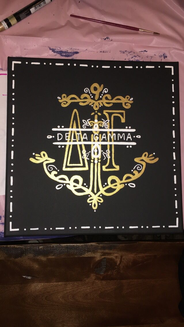 Delta gamma canvas I made for my little! Available on my etsy!