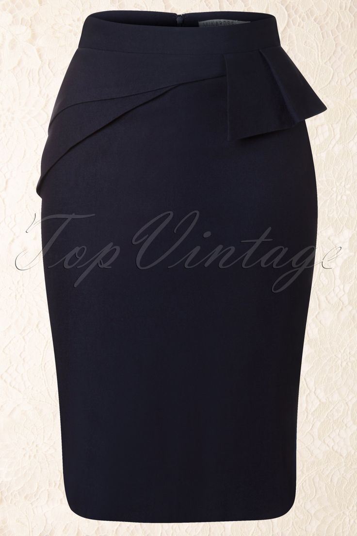 Mikarose - 50s Divine Peplum Skirt in Navy