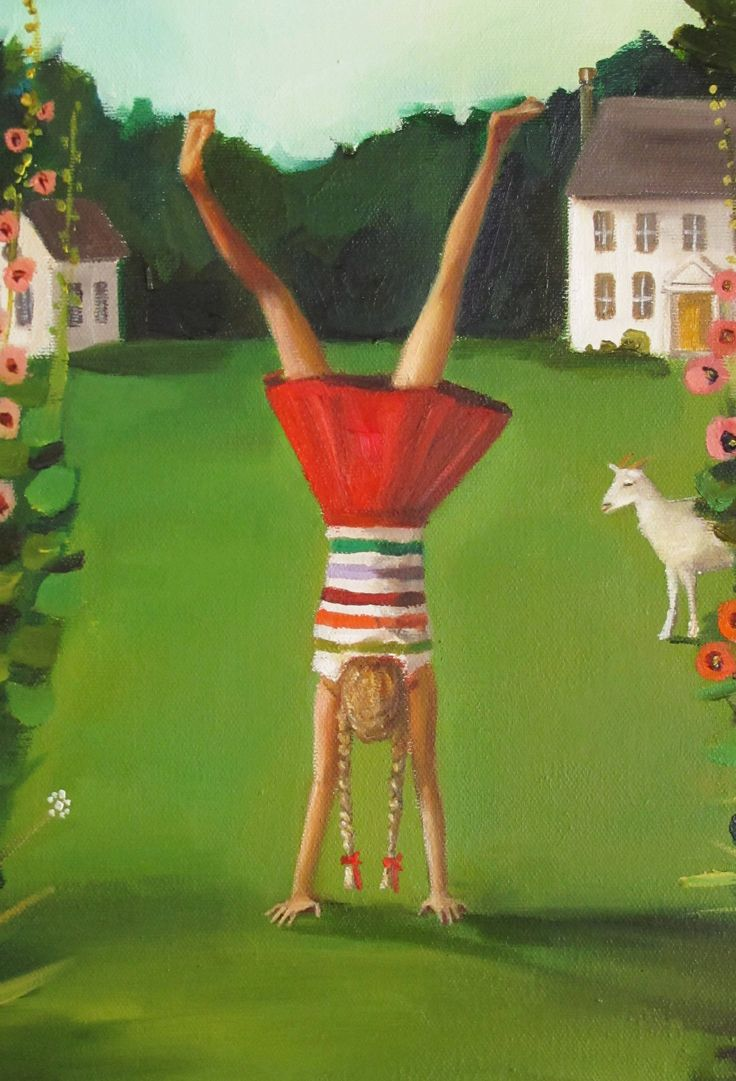 Details: Title: The Handstand 11x14 original oil painting. Painted on stretched canvas with painted sides.