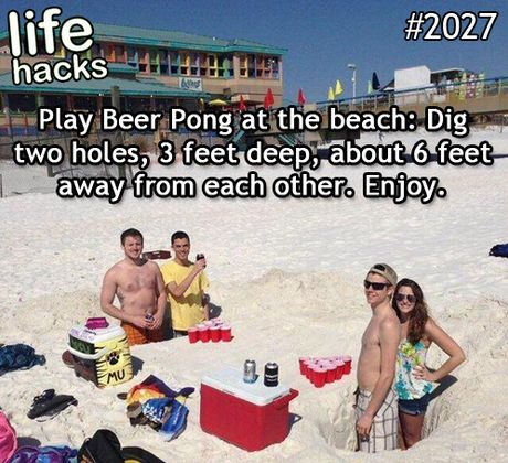 Playing beer pong at the beach