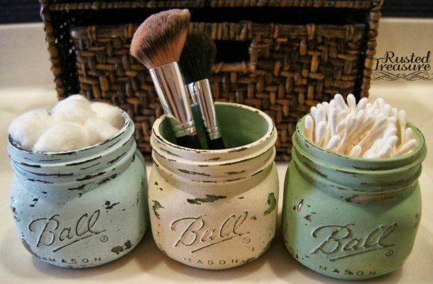 DIY Rustic Mason Jar Organizer   Fun and Cute Mini Mason Jar Crafts   Creative Home Decor Ideas, Wedding Favors, Makeup Organizers & more! by DIY Ready at http://diyready.com/23-diy-crafts-with-mini-mason-jars/