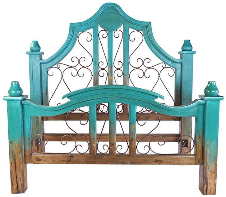 """Turquoise Two-Tone Mexican Painted Wood Bed with Wrought Iron Scrolls. The colorful antique look and rustic charm of this two-tone turquoise painted wood king bed with hand forged wrought iron will add a touch of elegance to any southwest or rustic bedroom theme. Headboard: 85"""" w x 7.5"""" d x 83"""" h. Footboard: 85"""" w x 7.5"""" d x 45.75"""" h"""