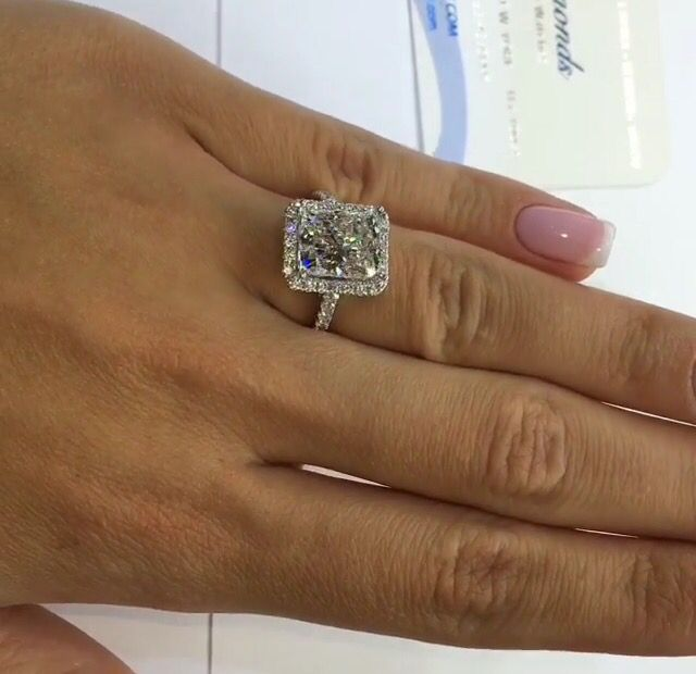4.03 carat elongated cushion cut diamond ring! Thin halo thin diamond band!