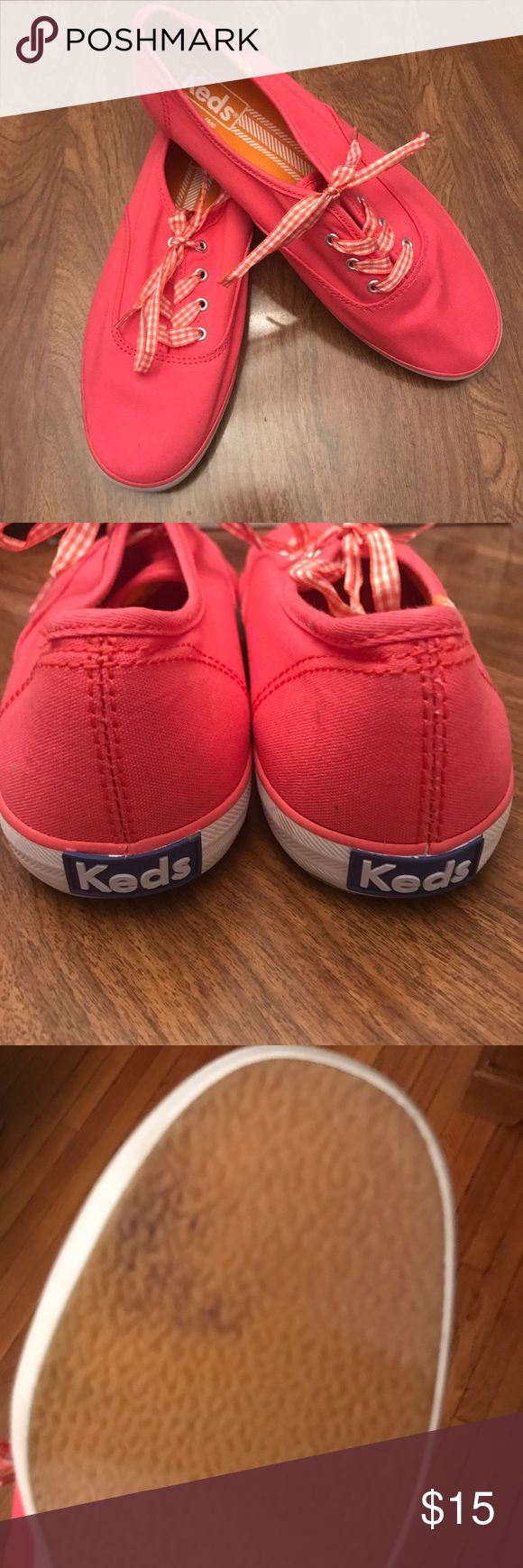 New Coral Pink Keds Champion Size 8 Adorable coral pink Keds Champion. Matching gingham  ribbon laces. Tried on and worn around the house but never wore them again. Size 8. Keds Shoes Sneakers