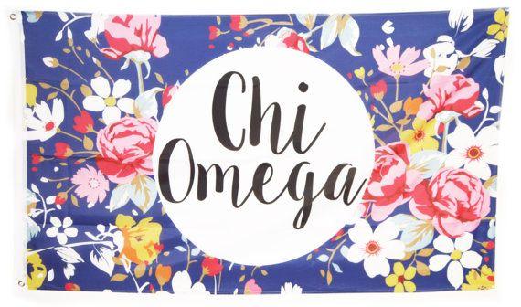 Chi Omega Floral Flag 3' x 5' by GreekLifeStuff on Etsy
