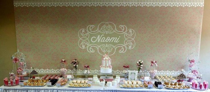 Elegant birdcage Christening dessert table