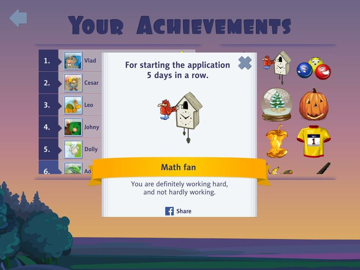 Achievments in mathlingz