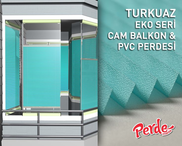 Turkuaz Eko Seri Cam Balkon ve PVC Perdesi Eko seri olan cam balkon perdeleri düz renkleri içerir ve ışığı içeriye soft ve homojen dağıtan yapıdadır. Balkonlar için alternatifi olmayan bir perde türü olan plise perdeler katlanır cam balkonlar için özel üretilmiştir ve katlanmış görüntüsü ile balkon camlarınızda görsel bir şölen sunarken, alev almaz ve kir tutmaz kumaş özelliği ile büyük kolaylıklar sağlar. #plicell #cambalkon #turkuaz #perde #pileli #piliseli