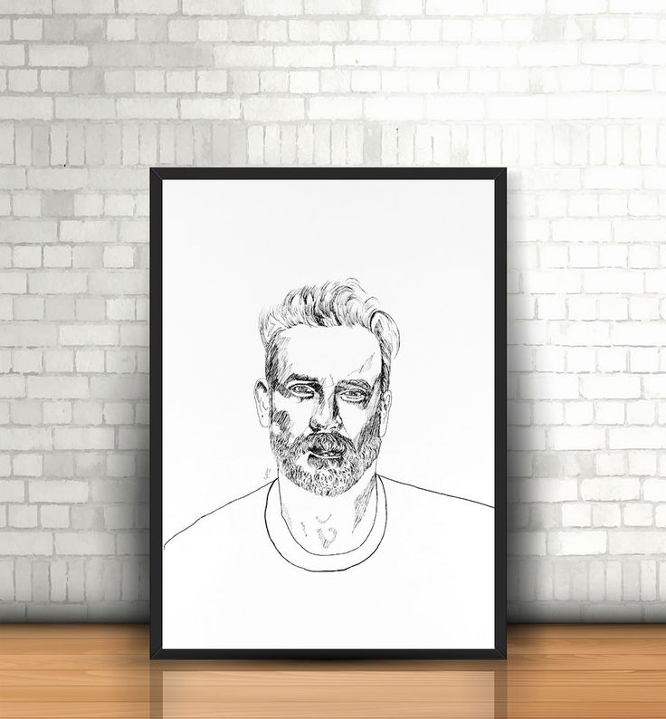 Portrait in ink, printable wall art, fun wall art , art print, ink art print, hand drawing, INSTANT DOWNLOAD by FlaviaTotoli on Etsy