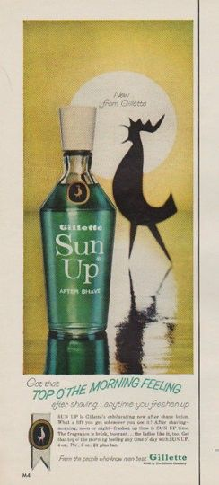 """Description: 1963 GILLETTE SUN UP vintage magazine advertisement """"top o' the morning feeling"""" -- Get that top o' the morning feeling after shaving ... anytime you freshen up ... Sun Up is Gillette's exhilarating new after shave lotion. ... From the people who know men best ... Gillette -- Size: The dimensions of the half-page advertisement are approximately 5.25 inches x 13.25 inches (13.25 cm x 33.75 cm). Condition: This original vintage half-page advertisement is in Excellent Condition ..."""