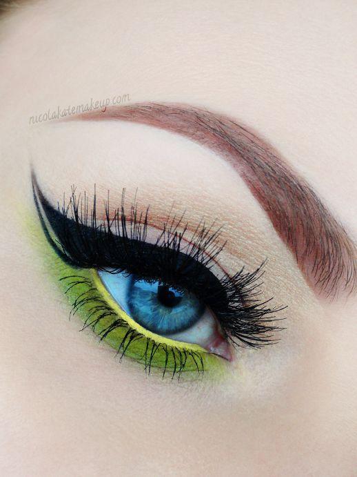 Eye Makeup Pop Of Color Lime Green Black Winged