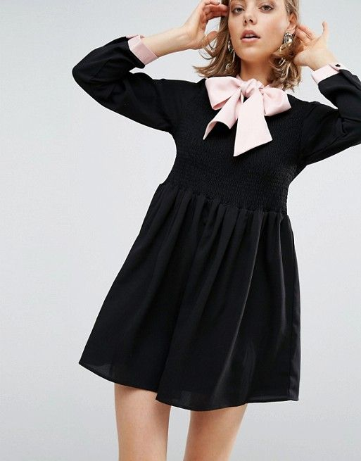 Sister Jane Dress With Satin Tie Up Bow