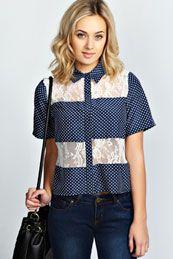 Amy Polka Dot + Lace Short Sleeve Boxy Shirt