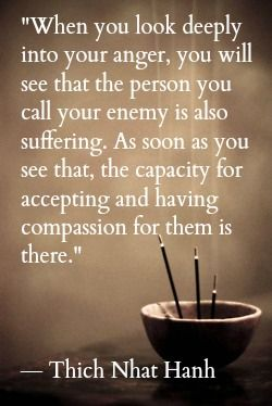 When you look deeply into your anger, you will see that the person you call your enemy is also suffering. As soon as you see that, the capacity for accepting and having compassion for them is there. - Thich Nhat Hanh