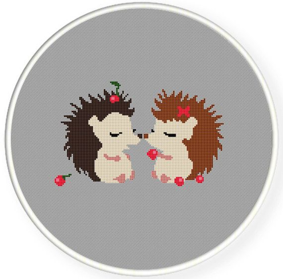 Buy 4 get 1 free ,Buy 6 get 2 free,Counted Cross stitch pattern,Cross-Stitch PDF,hedgehogs in love,valentine's day, zxxc0318. $5.00, via Etsy.