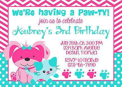 Puppy and Kitty Aqua and Pink 5x7 Birthday Party Invitation - Girl - PRINTABLE