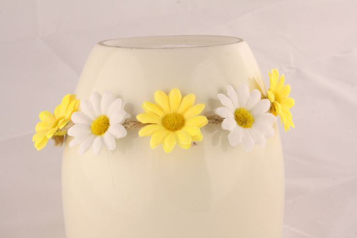 Yellow and White Floral Head Piece