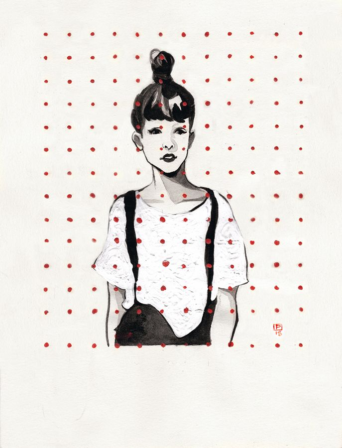 Paulette Jo TUMBLR: Inktober 1 - 5  Ink, white acrylic paint, blue and red gouache on fabriano  A5 paper