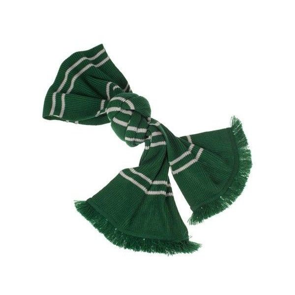 Authentic Slytherin Scarf ❤ liked on Polyvore featuring accessories, scarves, green scarves, silver scarves, striped scarves, striped shawl and green shawl