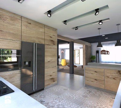 Projekt domu jednorodzinnego 4 - Duża otwarta kuchnia w kształcie litery g, styl nowoczesny - zdjęcie od BAGUA Pracownia Architektury Wnętrz