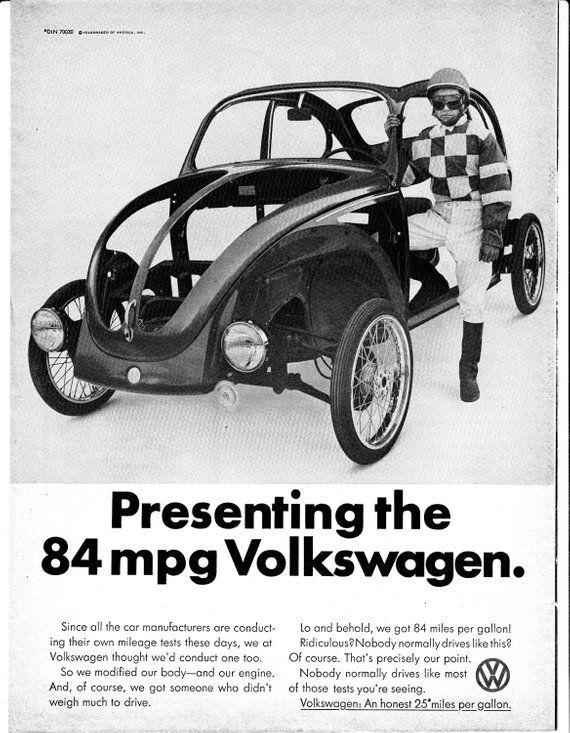 1974 Vw 84 Miles Per Gallon Beetle Bug Original Magazine Ad Really 25 Mpg This