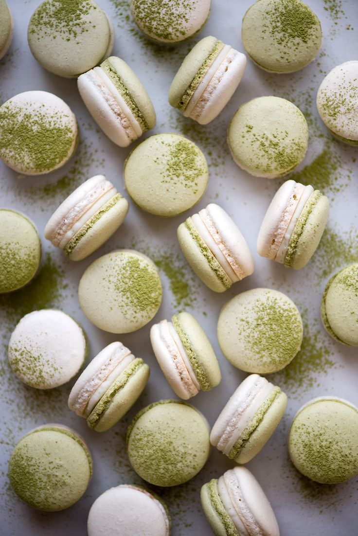 Matcha, Coconut, & Strawberry Macarons / Now, Forager | Teresa Floyd