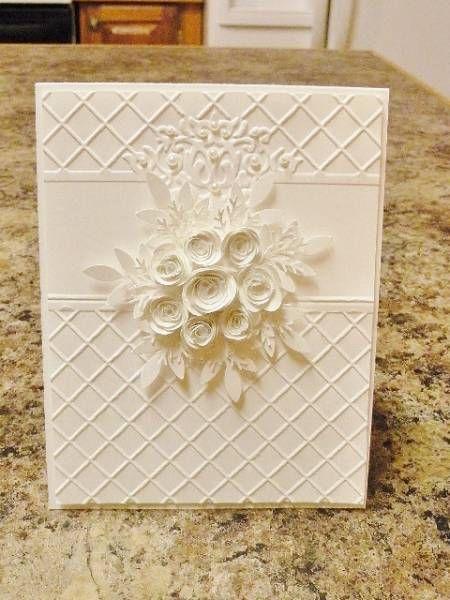 White Wedding: White Card, White Flower, Embossing Folder, Handmade Card, White On White, White Weddings, Weddings Card, Greetings Card, Wedding Card