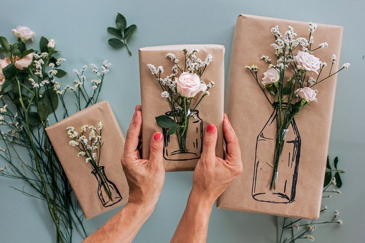 Diy gift wrap mothers day gift ideas kraft paper