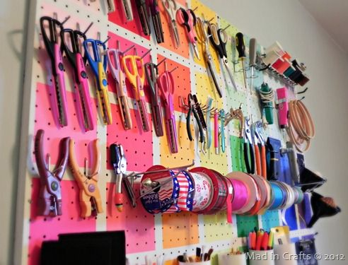 Colorful Pegboard for Craft Organizationhttp://www.madincrafts.com/2012/09/project-runway-inspired-colorful.html