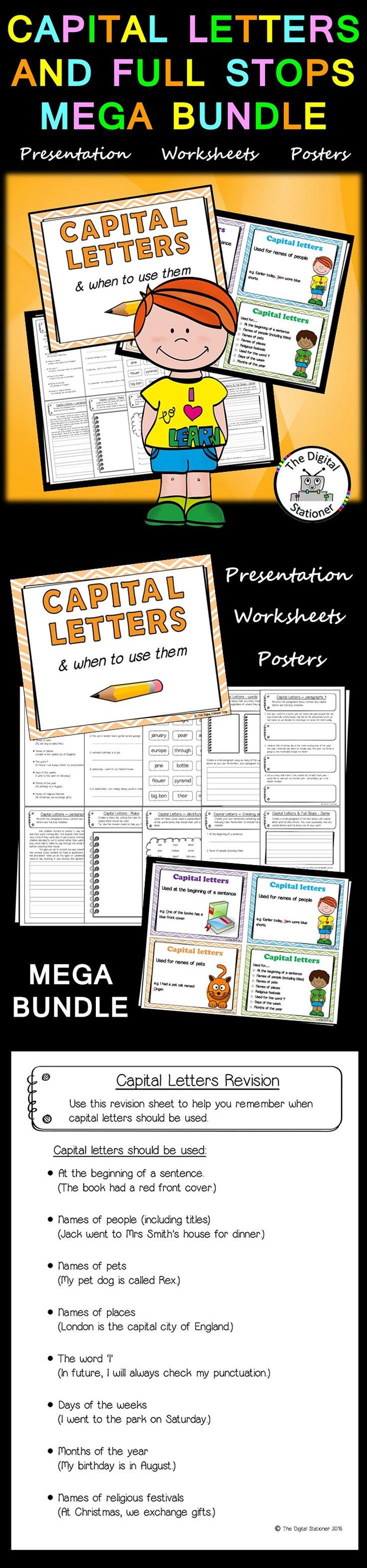 $3.50  - Capital Letters & Full stops MEGA BUNDLE word classes worksheets, posters, Presentation, PowerPoint/displays / printables. Literacy