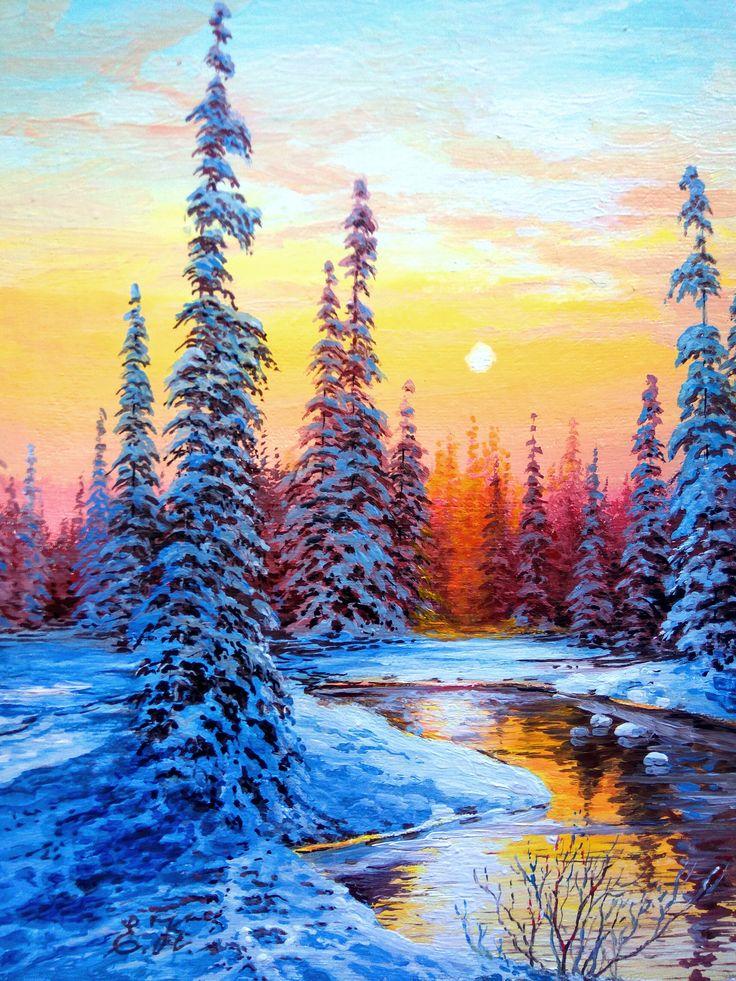 Картинки нарисованный пейзаж зима