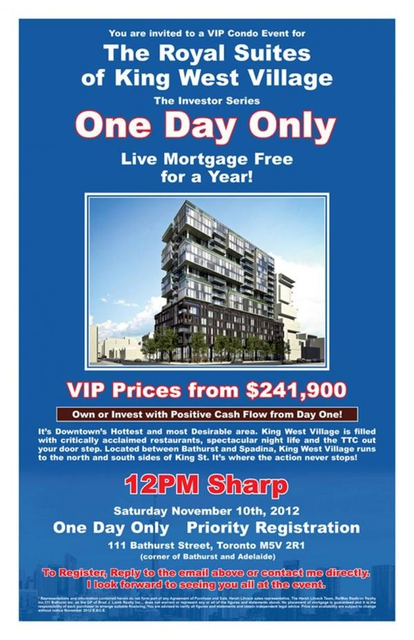 Royal Suites of King West Village. Pre construction VIP event! Why be anywhere else this saturday? Call me to know more!!!