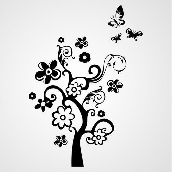 Boom met vlinders