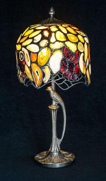 Duża lampa stojąca z AGATAMI inspirowana Tiffanym w Ni'Finn Handmade na DaWanda.com