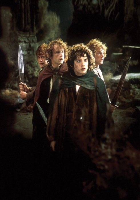 The Hobbits Frodo, Pippin, Sam and Merry - Elijah Wood, Billy Boyd, Sean Astin and Dominic Monaghan in The Lord of the Rings: The Fellowship of the Ring (2001).