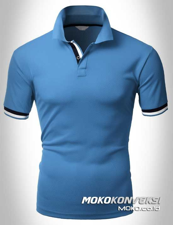 Polo Shirt Dual Stripes Accent | MOKO.CO.ID Pembuatan Kaos Berkerah Warna Biru.
