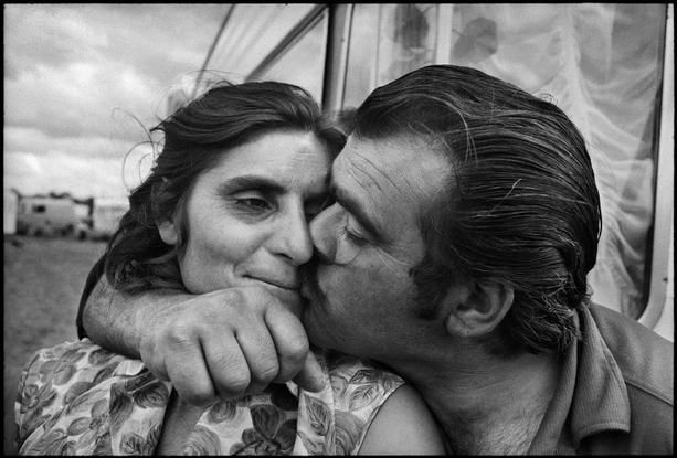 FRANCE. 1971. Seine-Maritime. Gypsy camp, Religious gathering of Gypsies.  Jean Gaumy. Happiness and romance