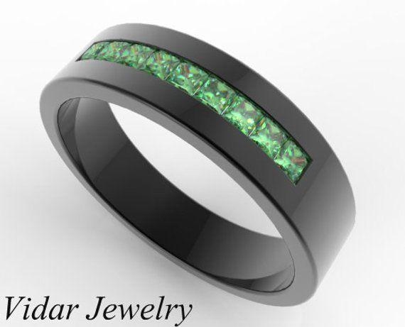 6d5d3e6ea5bf8 Unique Wedding Band For Men, Black Gold Wedding Ring, Green Emerald ...